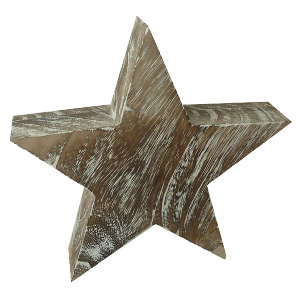 Large White Washed Wood Effect Star Christmas Rustic Home Decoration
